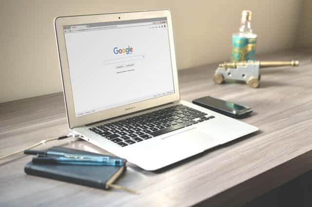 google search engine page on a laptop